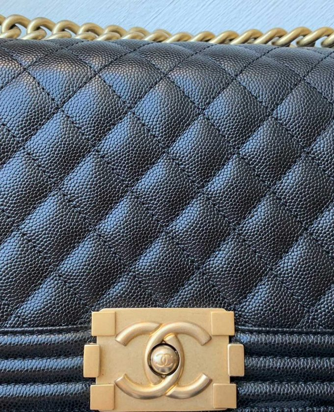 Chanel Boy Old Medium Caviar GHW